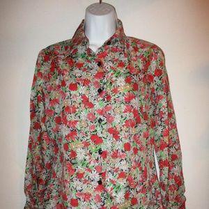 Vintage Daisy & Chrysanthemum French Cuff Blouse